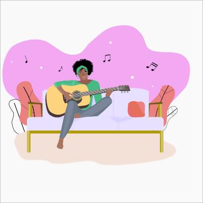 Akoestische gitaarles pop